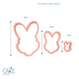 KIT ROSTO COELHO MODELO 1 - (3 PEÇAS) - LOJA CAKE DESIGN